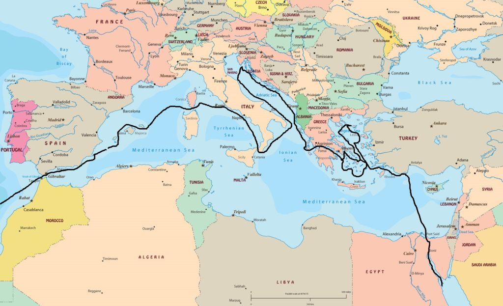 Heartsong III route through Mediterranean Sea | Farrow-Gillespie